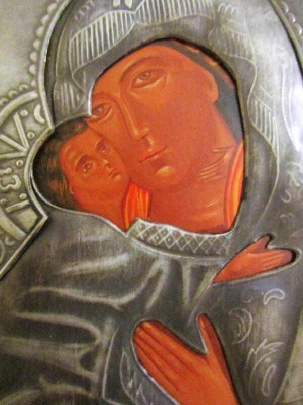 Icono Virgen de Vladimir Plata