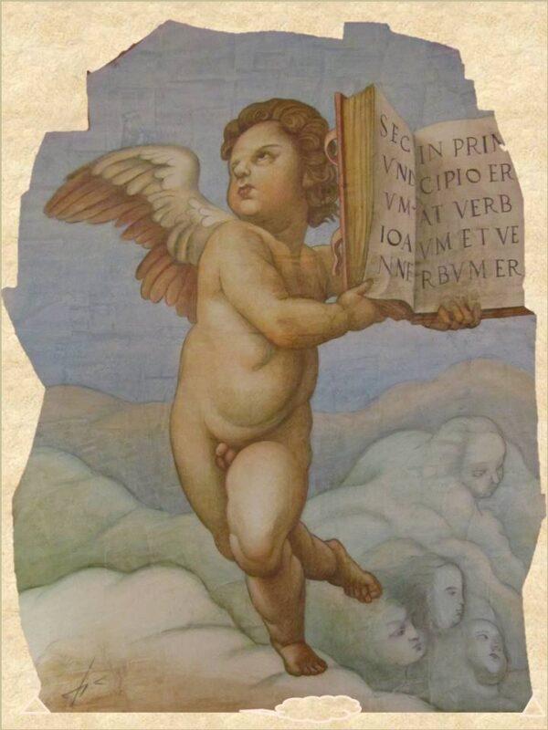 Pintura Angel con Libro